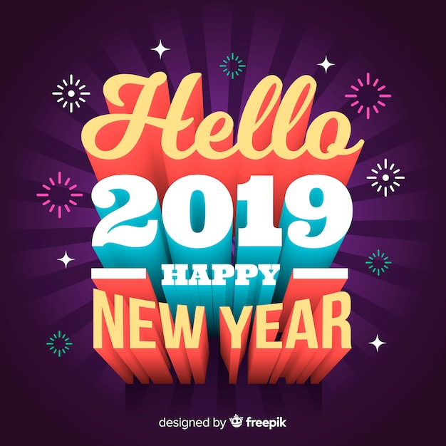 3d lettering new year 2019 Free Vector