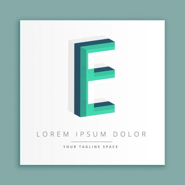 3d абстрактные логотип стиль с буквой е Бесплатные векторы