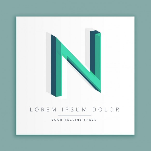 3d logo with letter n Free Vector