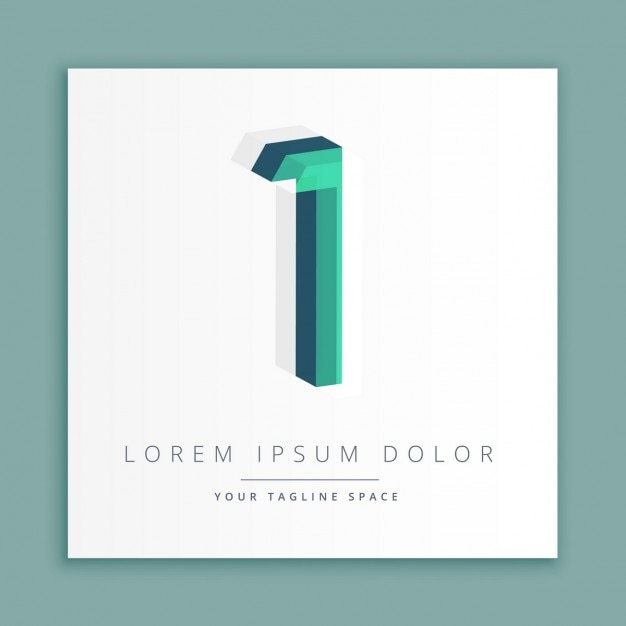 3d logo with number 1 vector free download