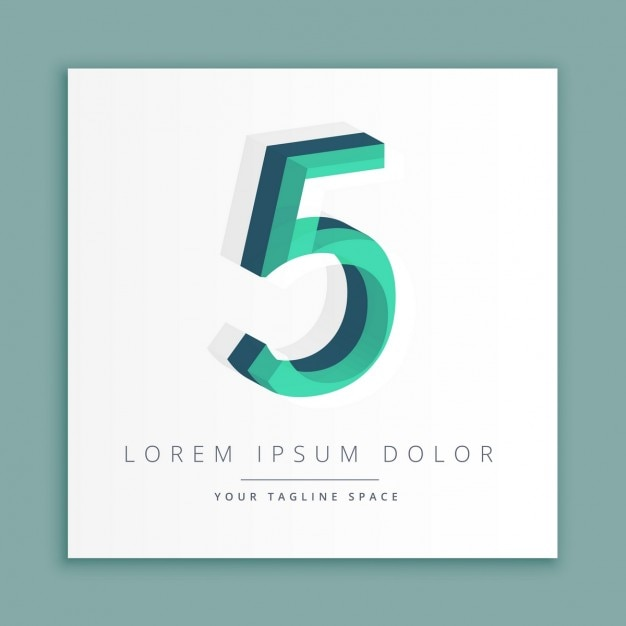 3d logo with number 5 Free Vector