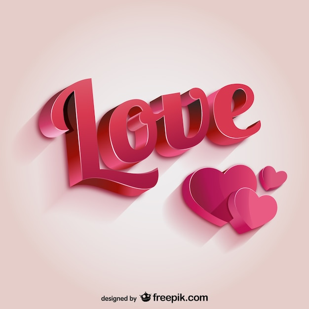 3D love lettering Free Vector