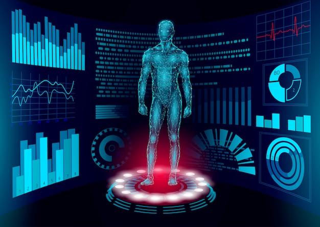 3d low poly human body hud display doctor online. future technology medicine laboratory web examination. blood system disease diagnostics futuristic ui illustration Premium Vector