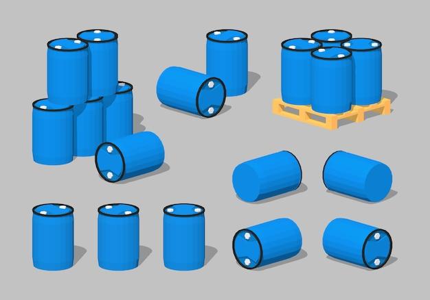3d lowpoly blue plastic barrels Premium Vector