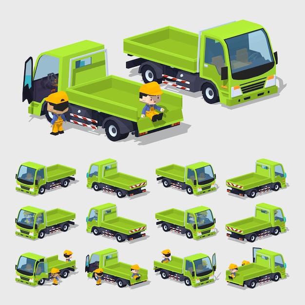 3d lowpoly empty green cargo truck Vector | Premium Download