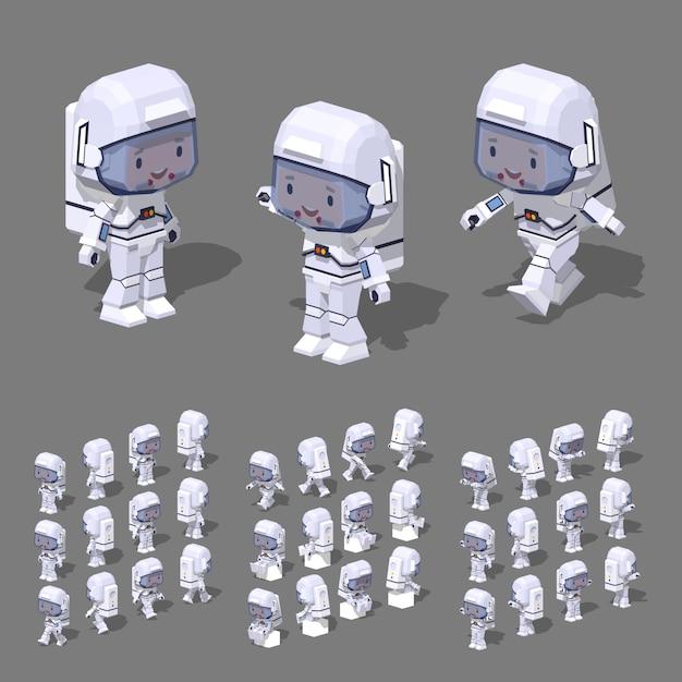 3d lowpoly isometric astronaut Premium Vector