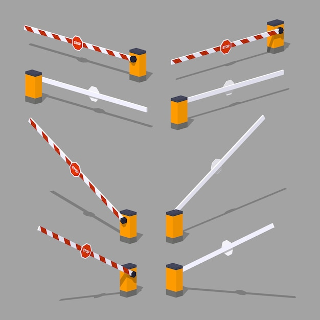 3d lowpoly isometric automatic barrier with stop sign Premium Vector