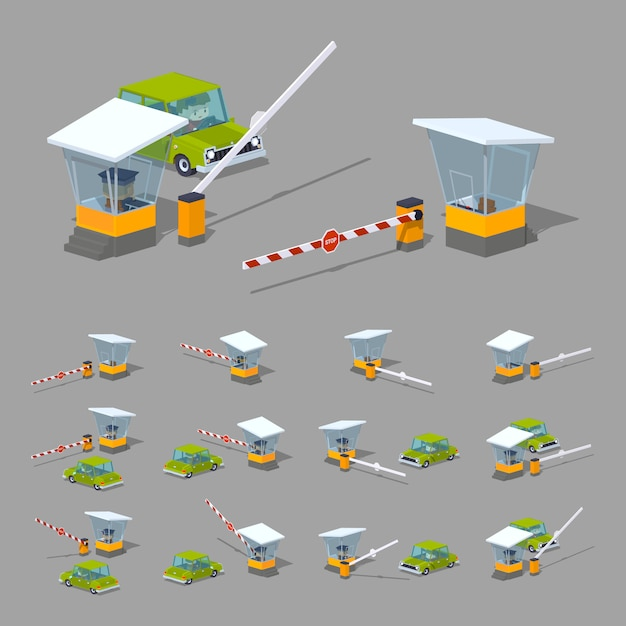 3d lowpoly isometric barrier, booth and green car Premium Vector