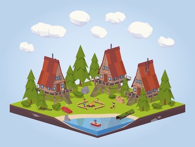 3d lowpoly isometric cabins in the woods near the lake Premium Vector