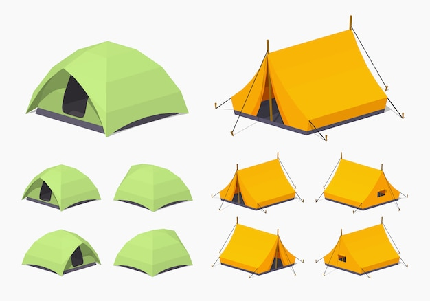 3d lowpoly isometric camping tents Premium Vector