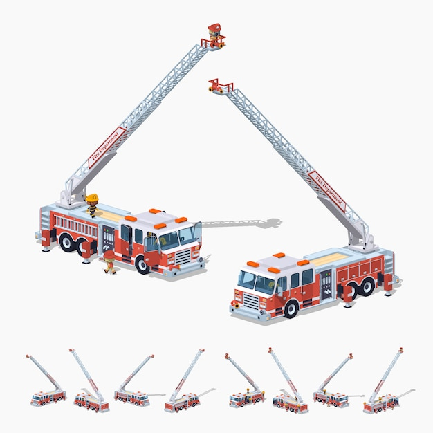 3d lowpoly isometric fire truck Premium Vector