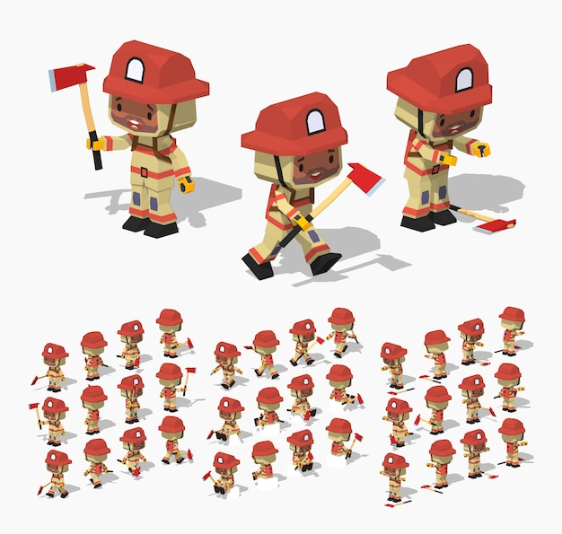 3d lowpoly isometric firefighter Premium Vector