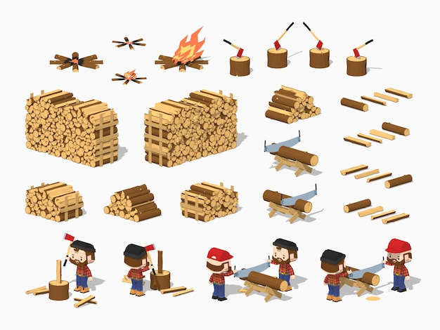 3d lowpoly isometric firewood harvesting by lumberjacks Premium Vector