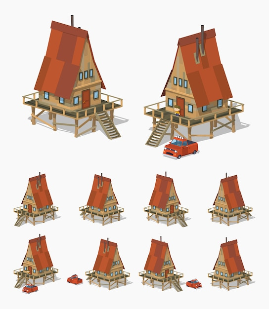3d lowpoly isometric a-frame wooden house Premium Vector