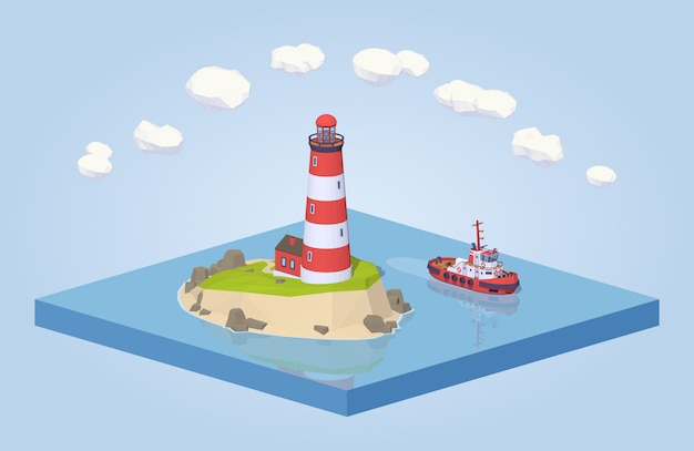 3d lowpoly isometric lighthouse and tugboat Premium Vector