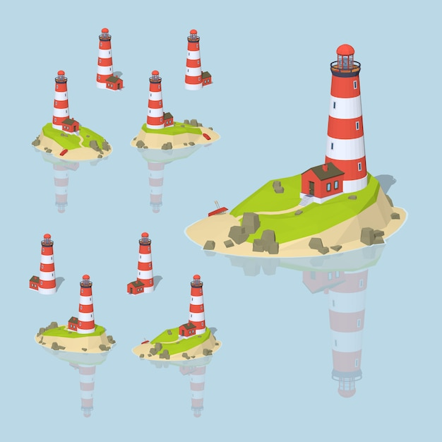 3d lowpoly isometric lighthouse Premium Vector