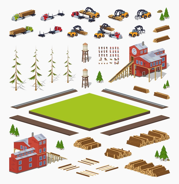 3d lowpoly isometric lumber mill construction set Premium Vector