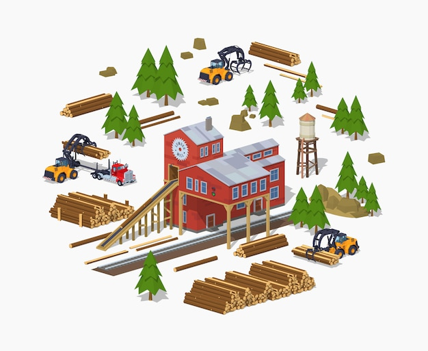 3d lowpoly isometric lumber mill. sawmill building Premium Vector