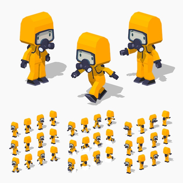 3d lowpoly isometric man in the protective suit Premium Vector