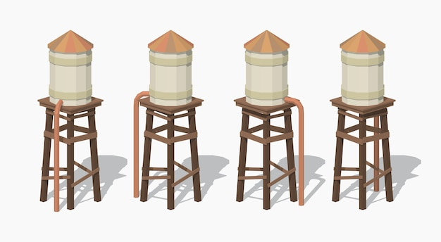 3d lowpoly isometric old water tower Premium Vector