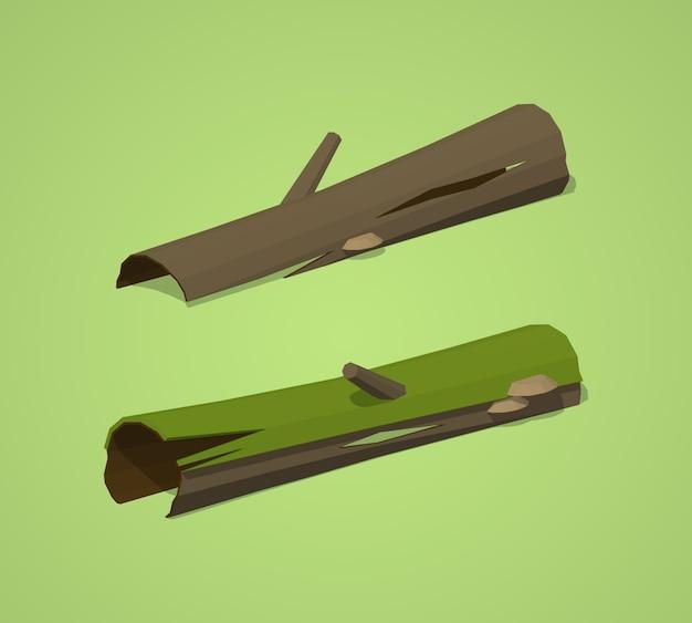 3d lowpoly isometric rotten logs Premium Vector