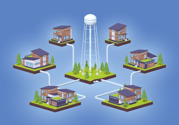 3d lowpoly isometric water supply infographics Premium Vector