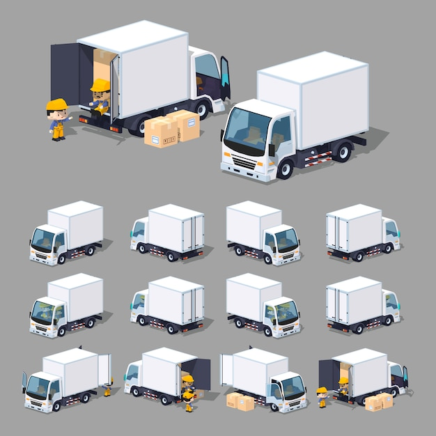 3d lowpoly white cargo truck Premium Vector