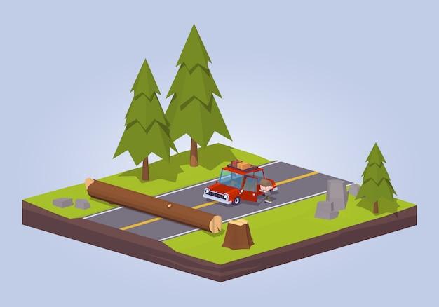 3d lowpoly изометрии старое дерево разбилось на дороге Premium векторы