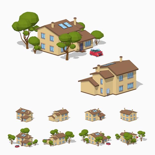 3d lowpoly изометрический загородный дом Premium векторы