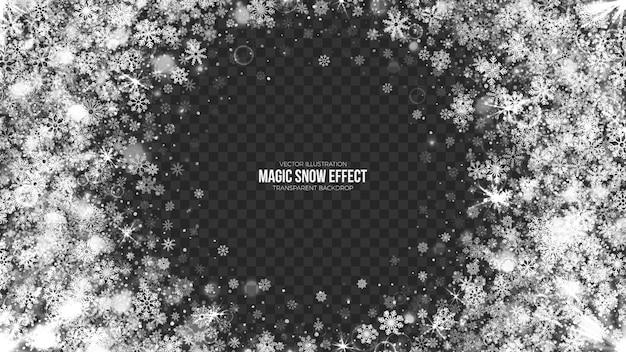 3d magic snow frame christmas background Premium Vector