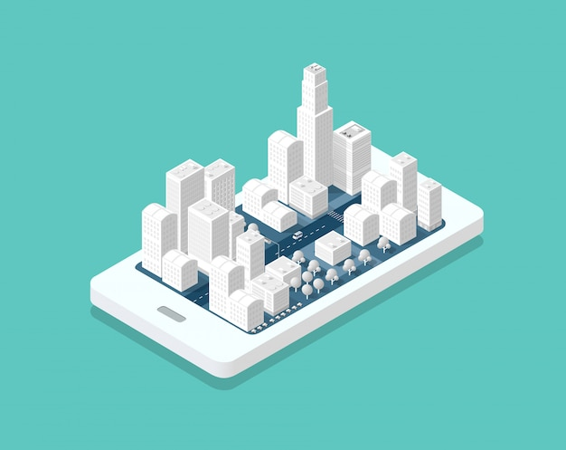 3d map isometric city Premium Vector