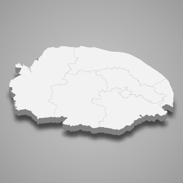 Premium Vector | 3d map of norfolk ceremonial county of england illustration