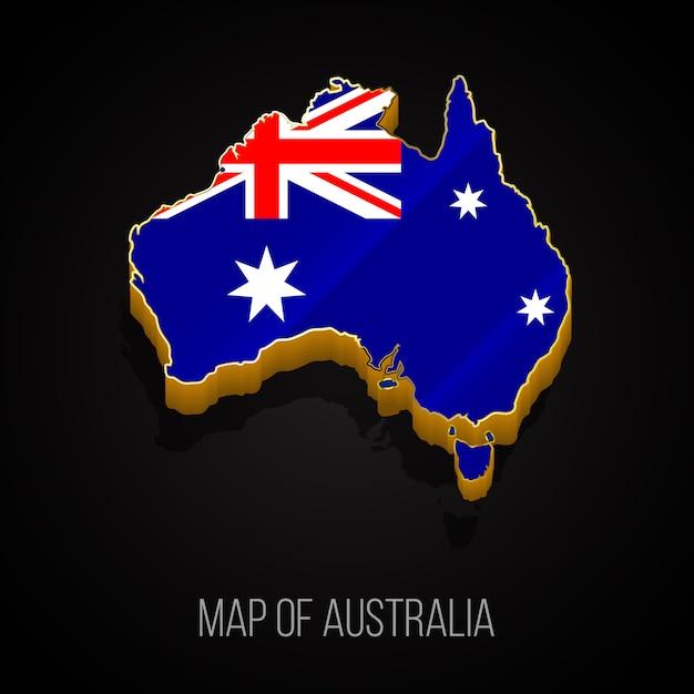 3d карта австралии Premium векторы
