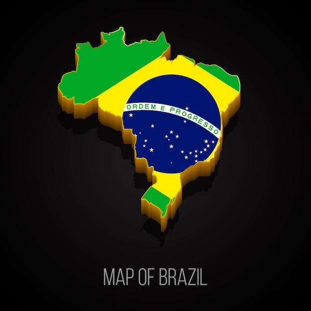 3d карта бразилии Premium векторы