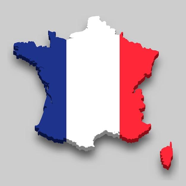 国旗とフランスの3dマップ。 Premiumベクター