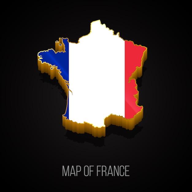 フランスの3dマップ Premiumベクター