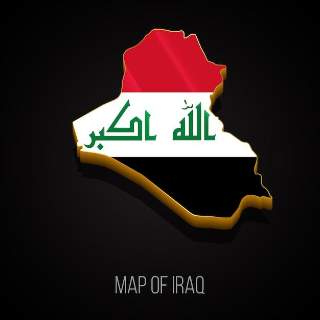 イラクの3dマップ Premiumベクター