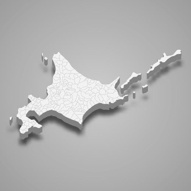 3d карта префектуры японии Premium векторы