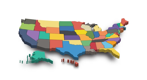 Map Of America 3d Vector.3d Map Of United State Of America Vector Premium Download