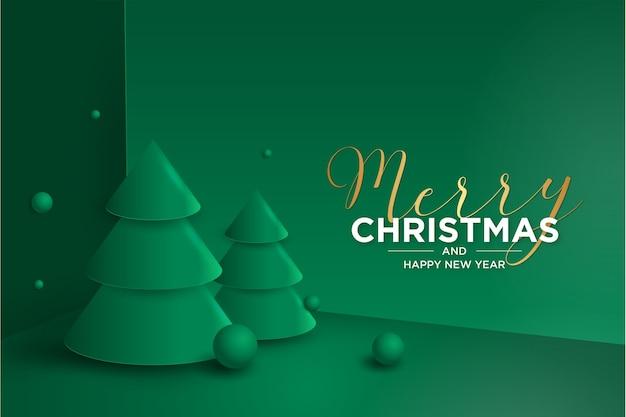 3d открытка с рождеством и новым годом с елкой Бесплатные векторы