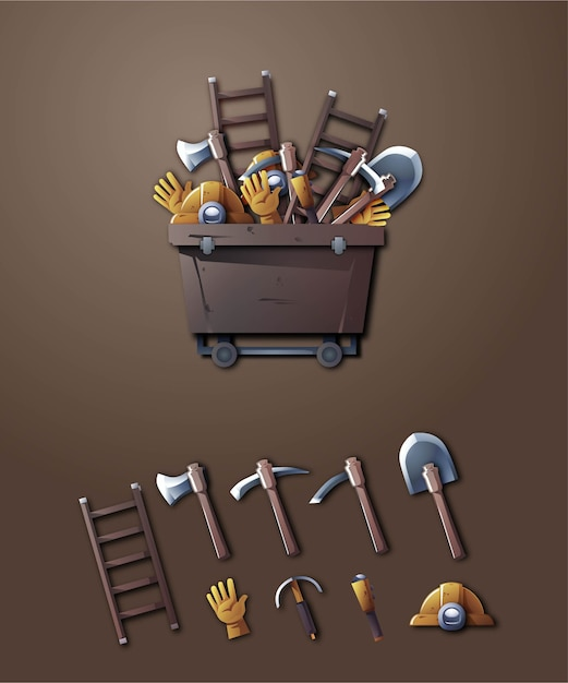 3d mining tools illustration set Premium Vector