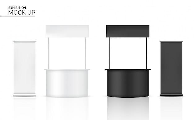 3dモックアップ現実的なキオスクディスプレイpopブース販売マーケティング推進展 Premiumベクター