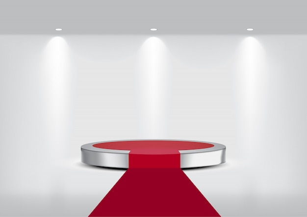 3d mock up realistic metallic carpet stage podium for show Premium Vector