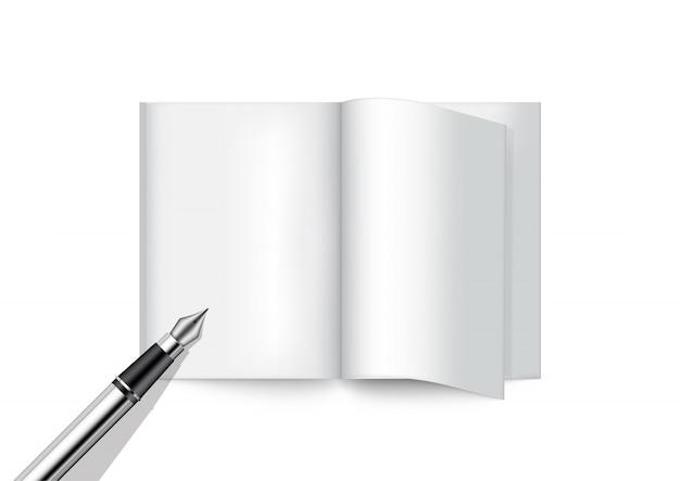 3d mock up realistic pen и книга для журнала Premium векторы