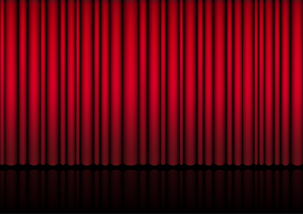 3d mock up realistic red curtain on stage Premium Vector