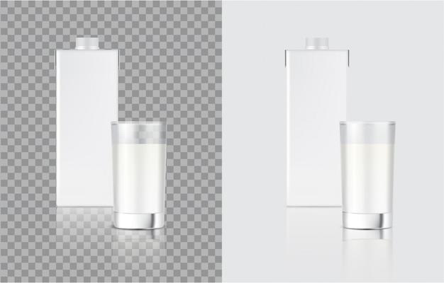 3d mock up реалистичная коробка для коробки из молока и стекла для упаковки продуктов питания и напитков Premium векторы