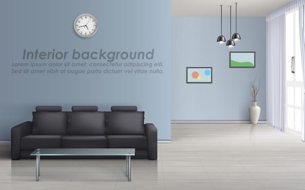 3d макет пустой гостиной с черным диваном, стеклянный стол, окно с шторами Бесплатные векторы