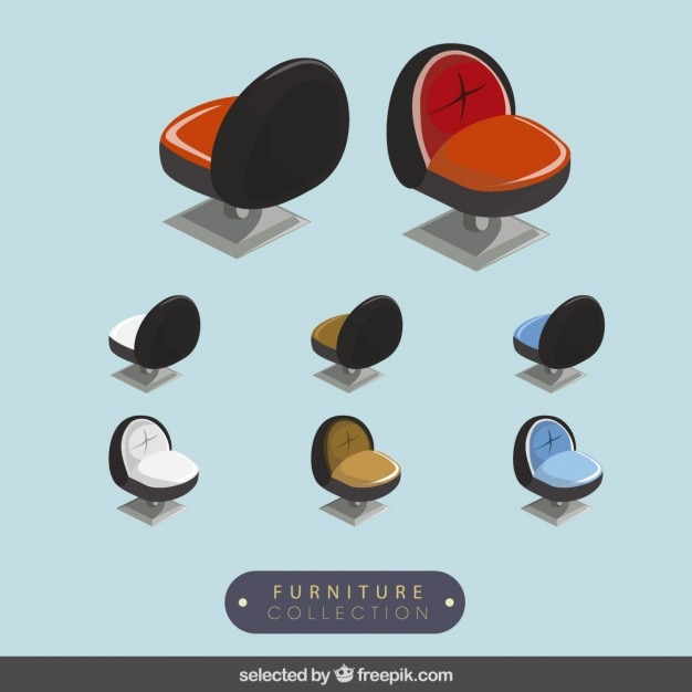 3d modern chairs collection Free Vector
