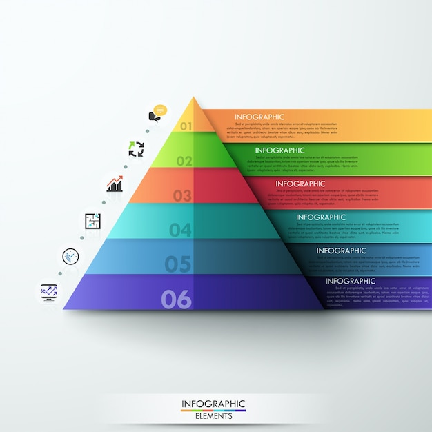 3d modern infographic option pyramid template Premium Vector
