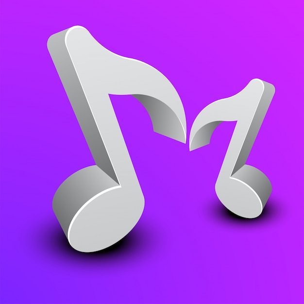 3d music notes on purple background. Vector | Premium Download